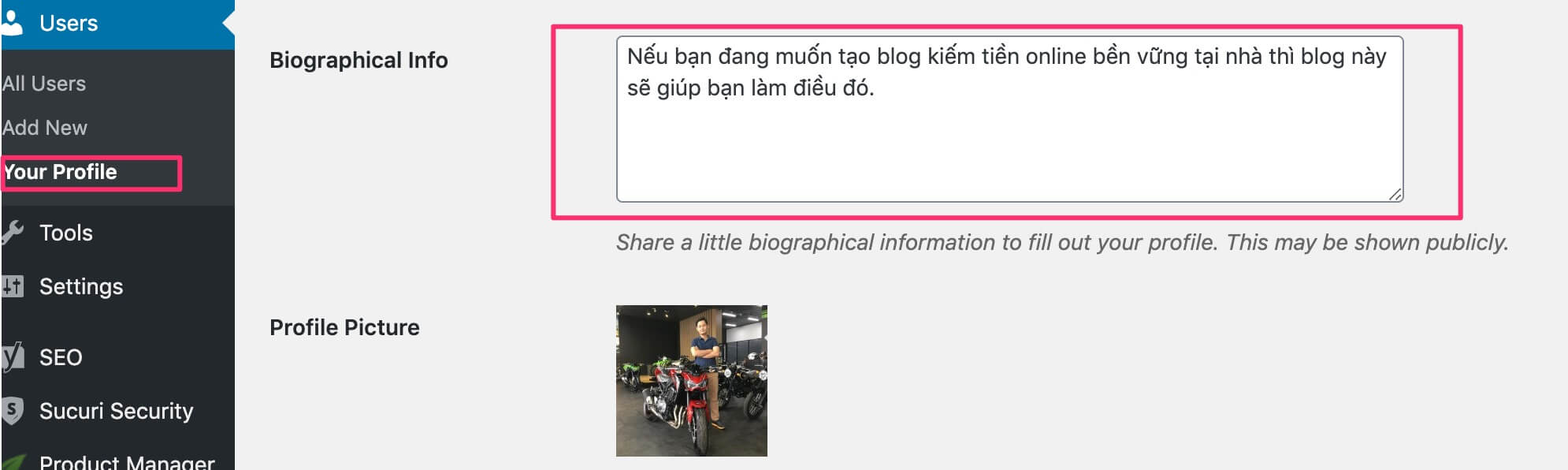 cập nhật bio info cho blog wordpress