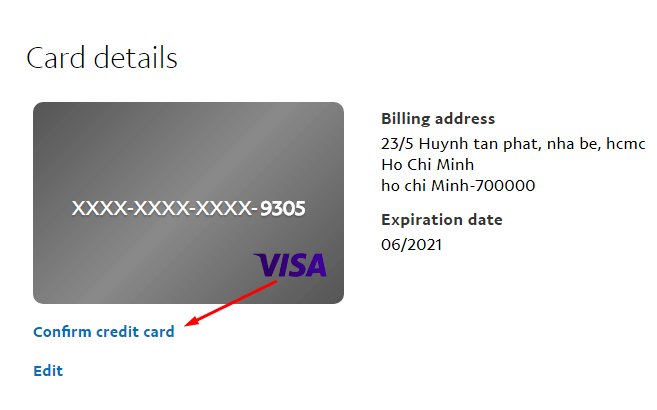 Confirm credit card với paypal