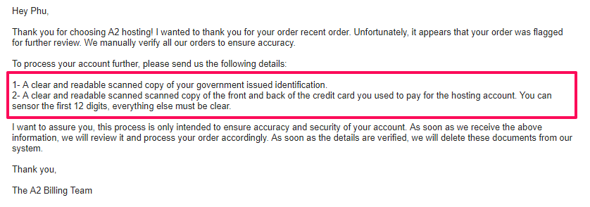 email confirm user id and VISA card