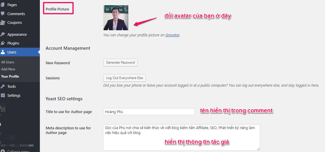 thay đổi hình nên gravatar website wordpress | goccuaphu.com