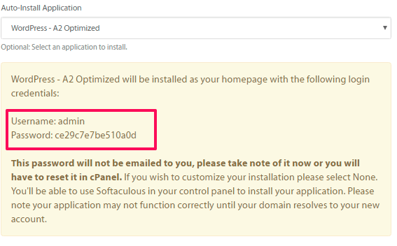 user name va password cua a2hosting
