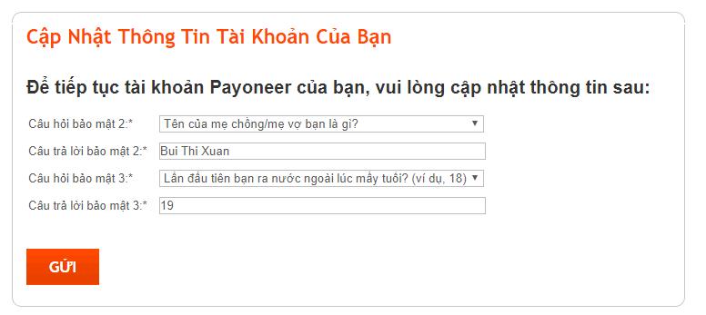 Câu hỏi bảo mật để log in tài khoản payoneer
