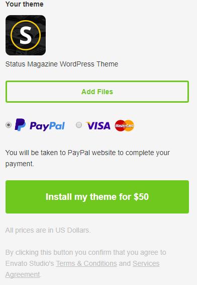 điền thông tin tài khoản paypal để thanh toán cho themeforest