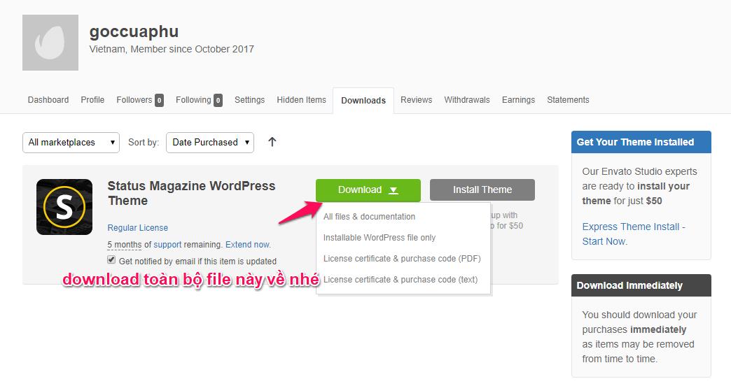 Download toàn bộ file theme về máy tính