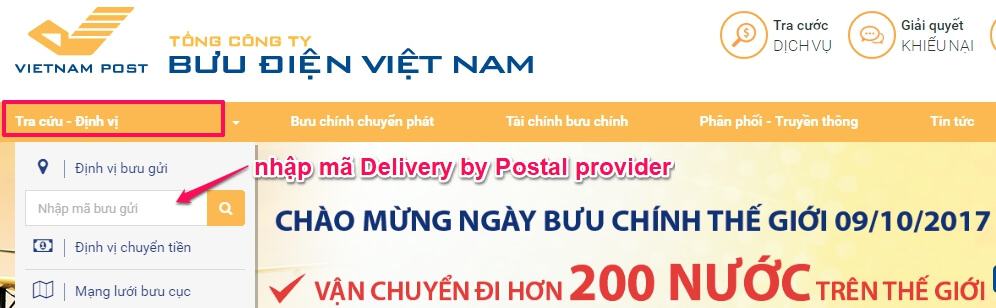 nhập mã tra cứu định vị Việt Nam Post