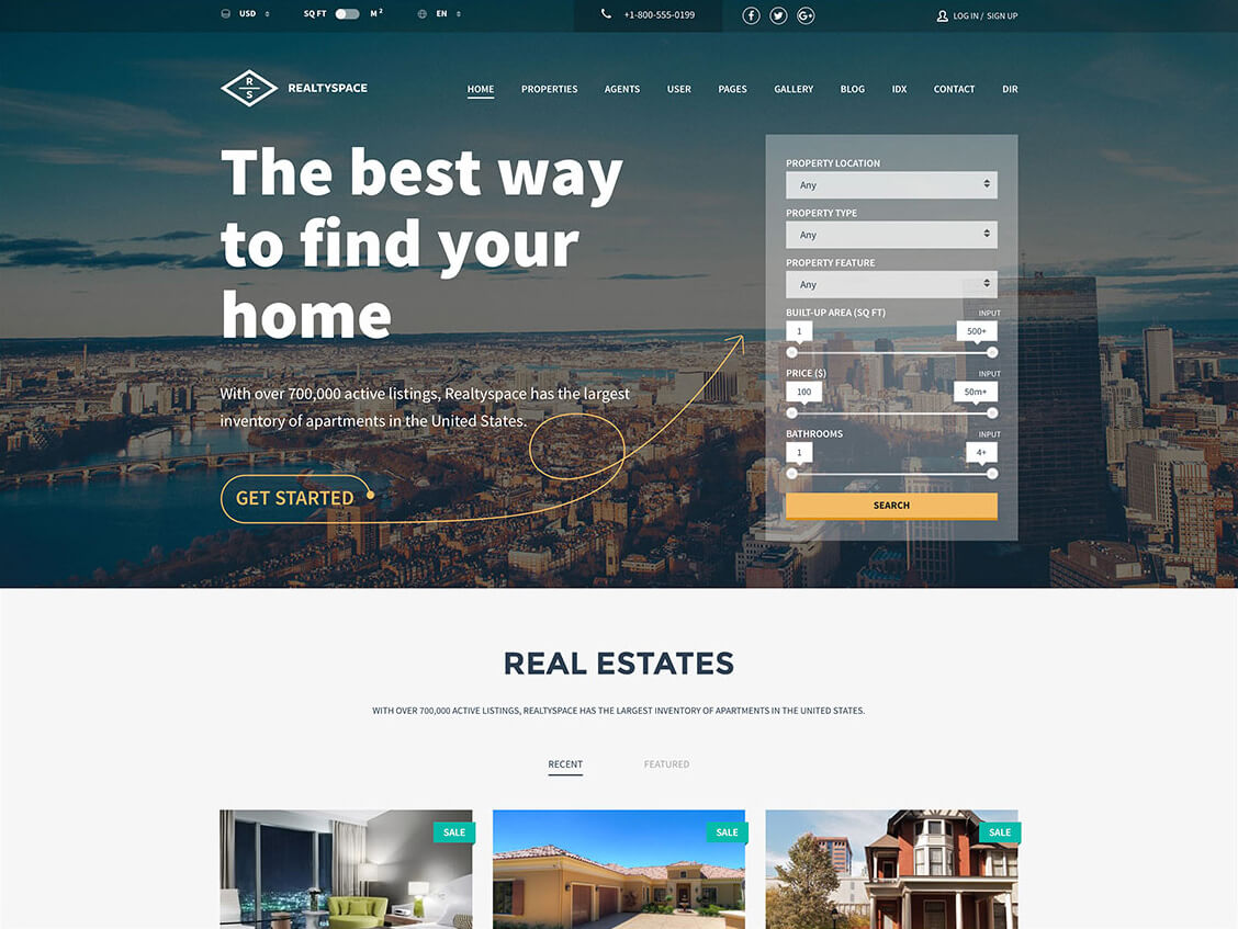 Realtyspace - Real estate WordPress Theme Themeforest