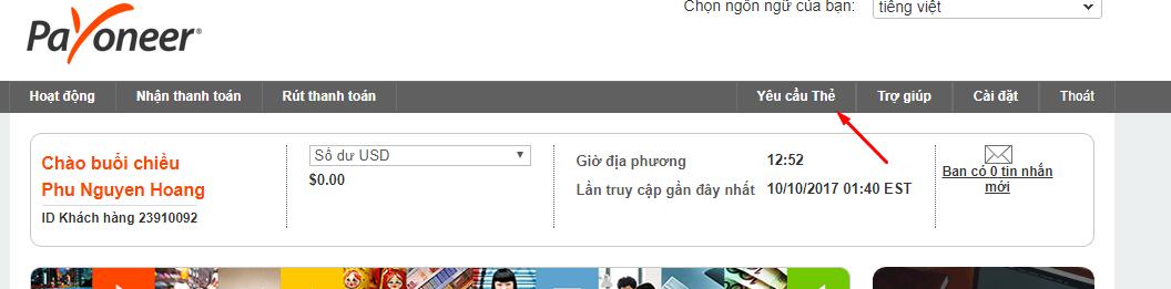 yêu cầu gửi thẻ Payoneer về Việt Nam