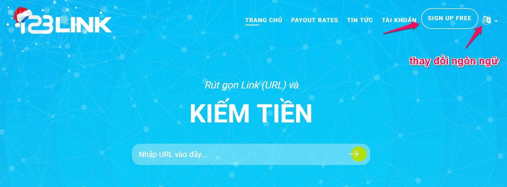 Đăng ký kiếm tiền bằng rút gọn link với 123link
