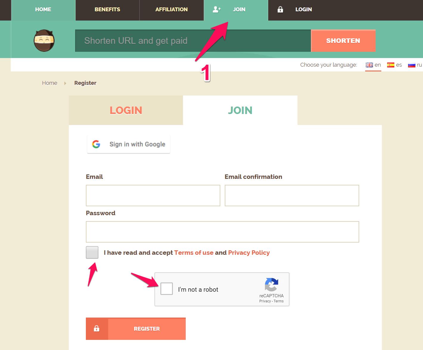 đăng ký tài khoản shorte.st