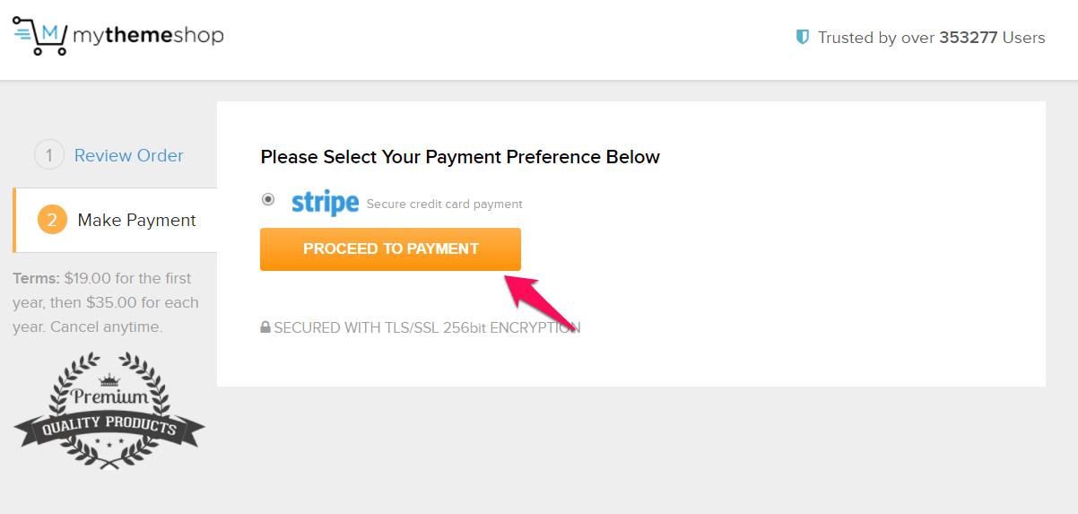 Proceed to payment thông qua cổng thanh toán Stripe