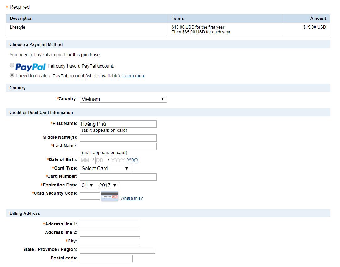 điền thông tin thanh toán bằng VISA tại mythemeshop