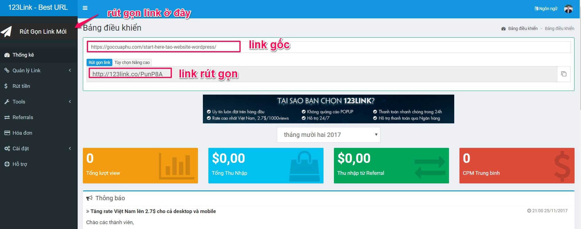 Giao diện trang admin của 123link