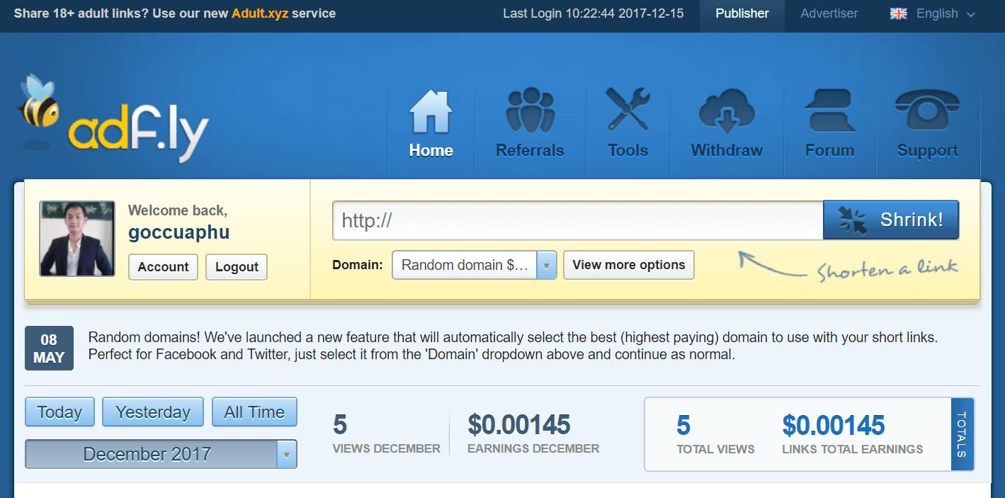 Trang chủ adf.ly kiếm tiền rút gọn link | www.goccuaphu.com
