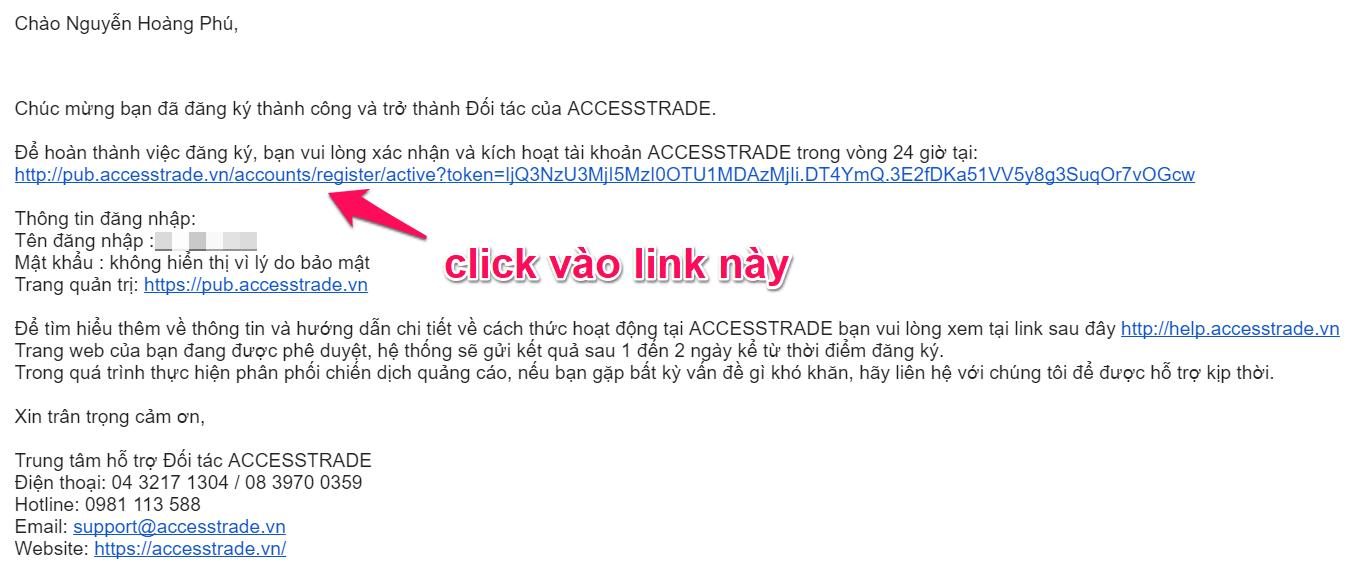 Email xác nhận tài khoản accesstrade việt nam