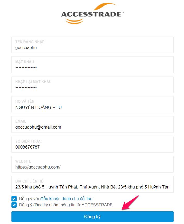 homepage của mạng tiếp thị liên kết accesstrade