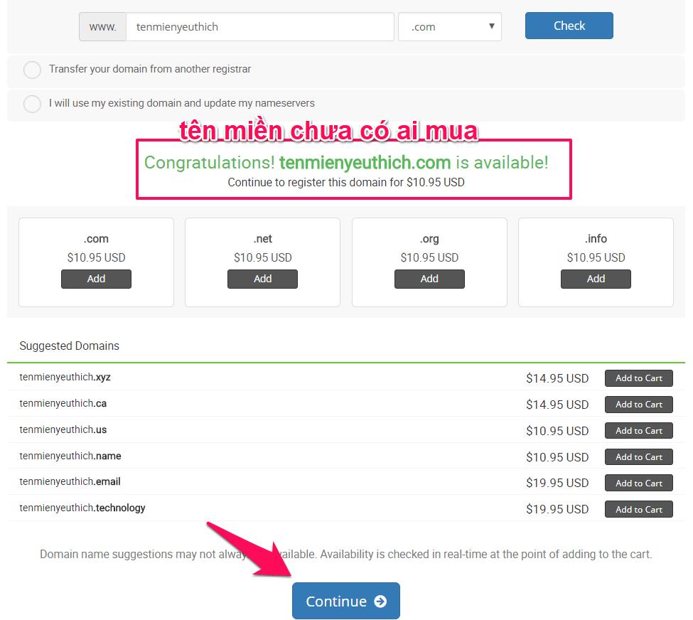confirm thông tin tên miền đã mua của hawkhost
