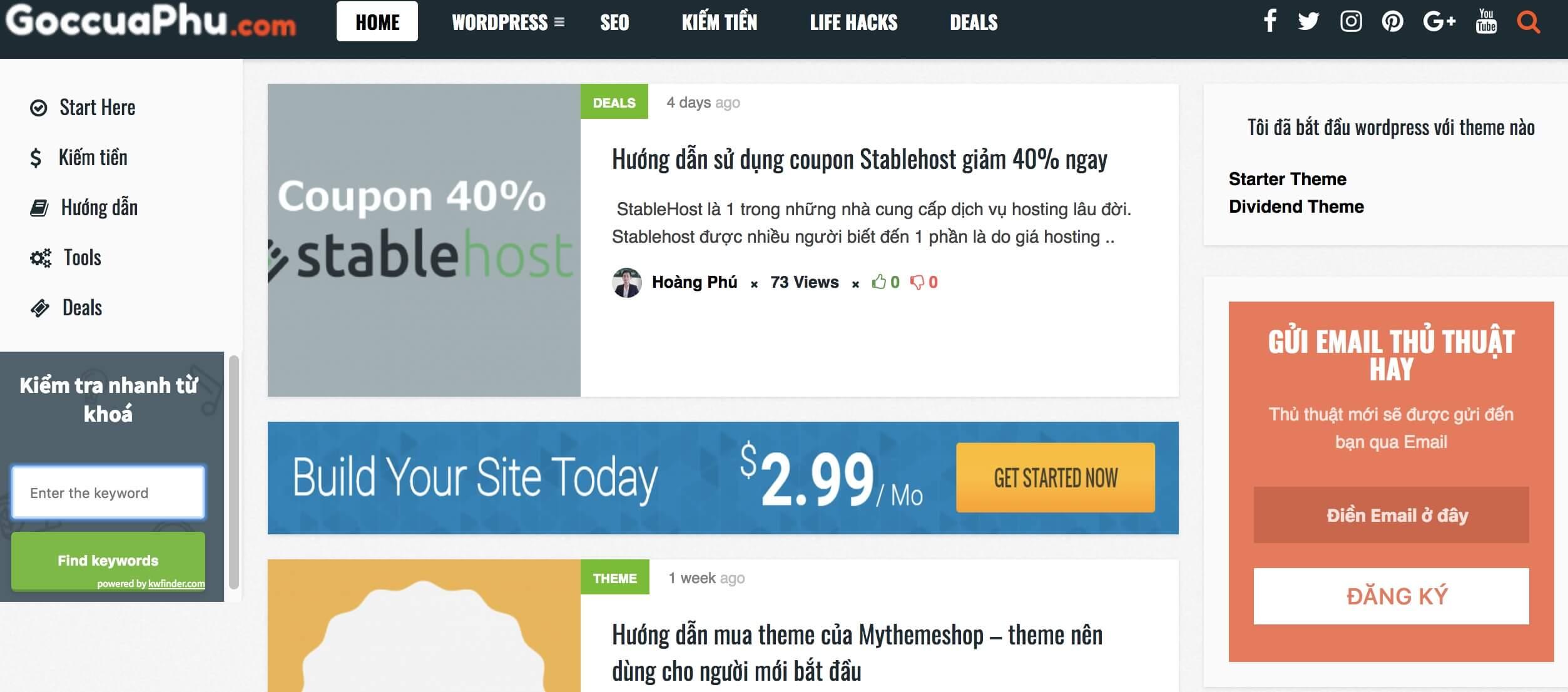 Test trang chủ góc của phú blog
