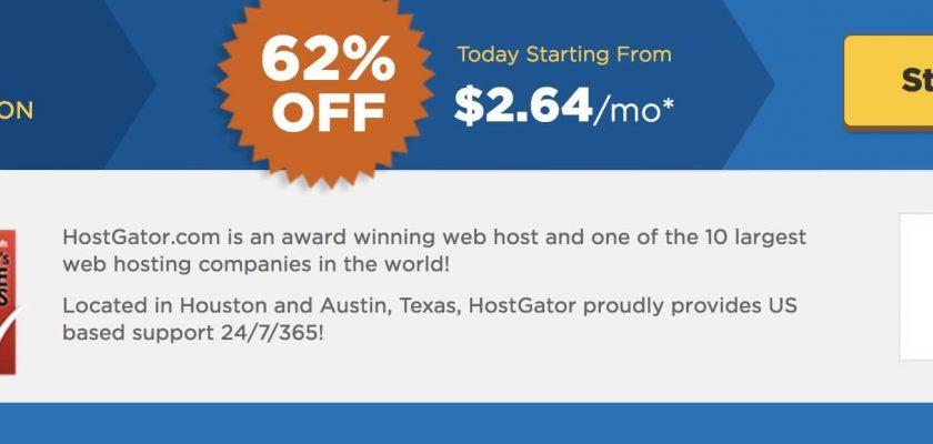 coupon giảm giá hostgator 60%