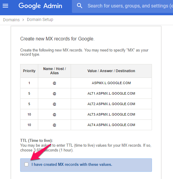 create new mx records for google - google admin