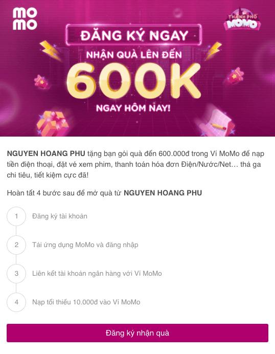 đăng ký nhận tiền thưởng từ Momo