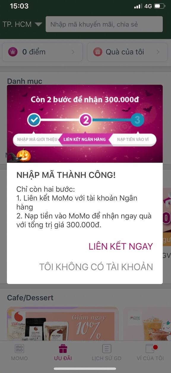 hướng dẫn liên kết tài khoản ngân hàng với ví momo