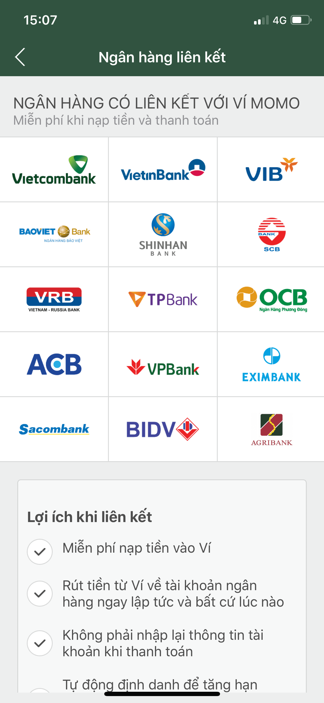 liên kết tài khoản ngân hàng kiếm tiền với ứng dụng momo