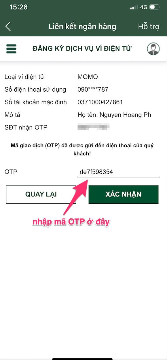 Nhập mã OTP của ngân hàng kiếm tiền trên ứng dụng Momo