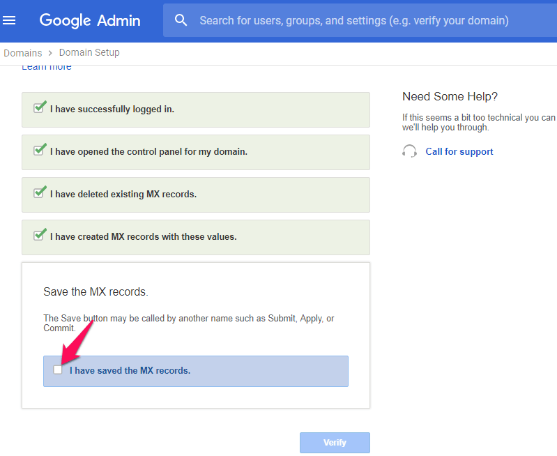 how to save mx records - google admin
