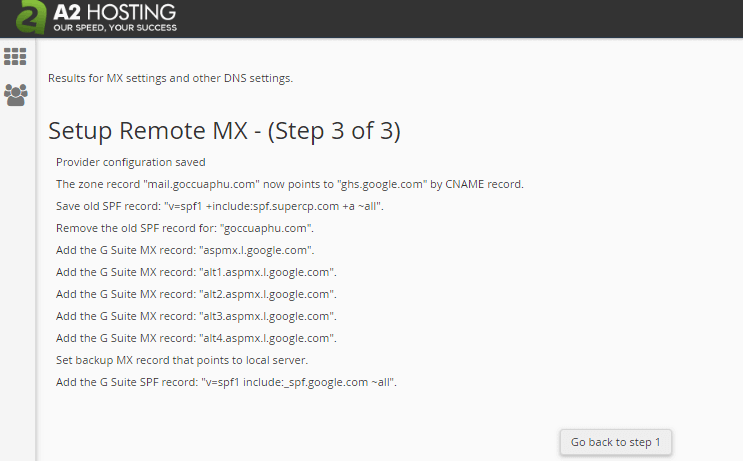 setup remote MX a2 hosting