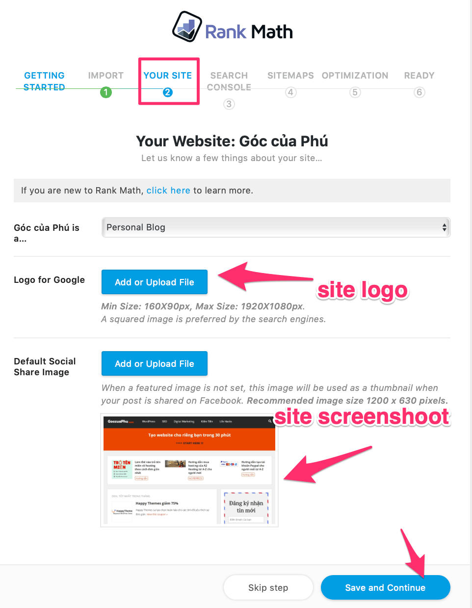 confirm logo your website with rank math seo mythemeshop
