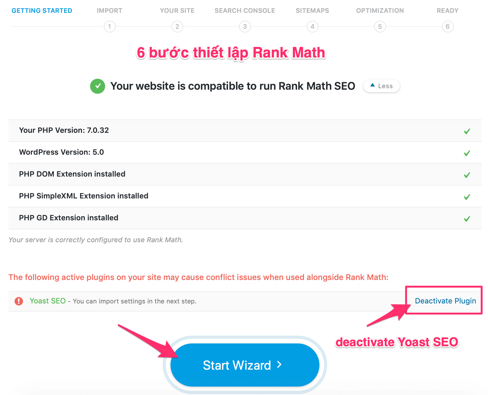 deactivate Yoast SEO - start wizard rank math mythemeshop