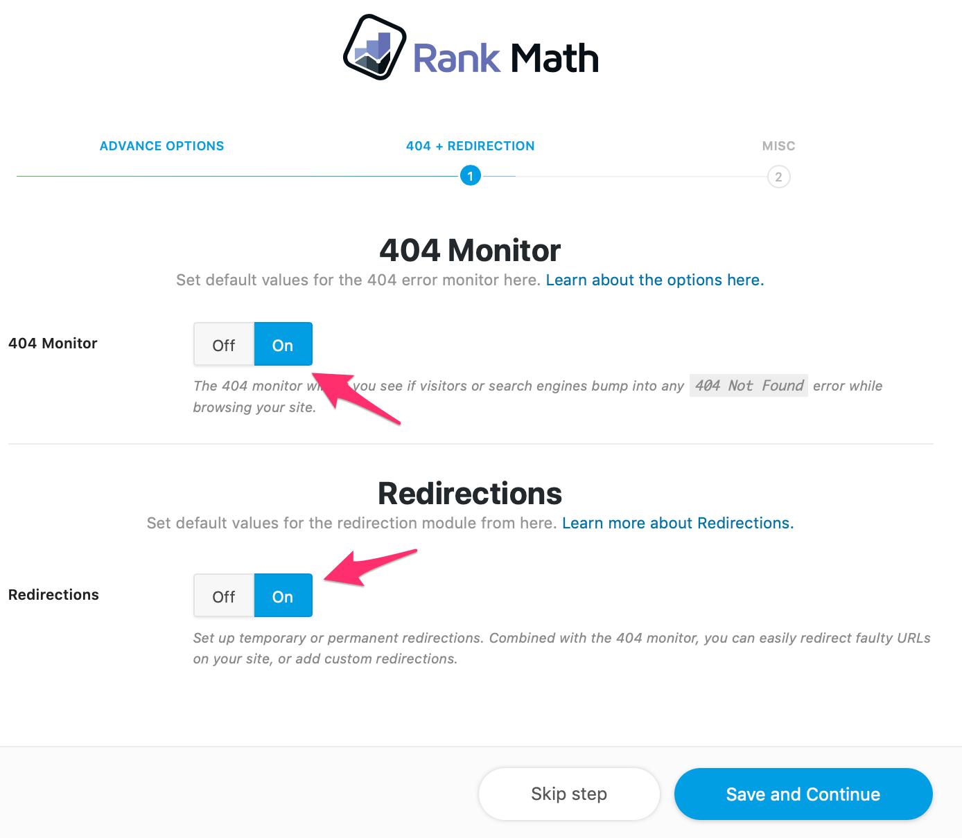 thiet lap nang cao voi 404 link voi rank math
