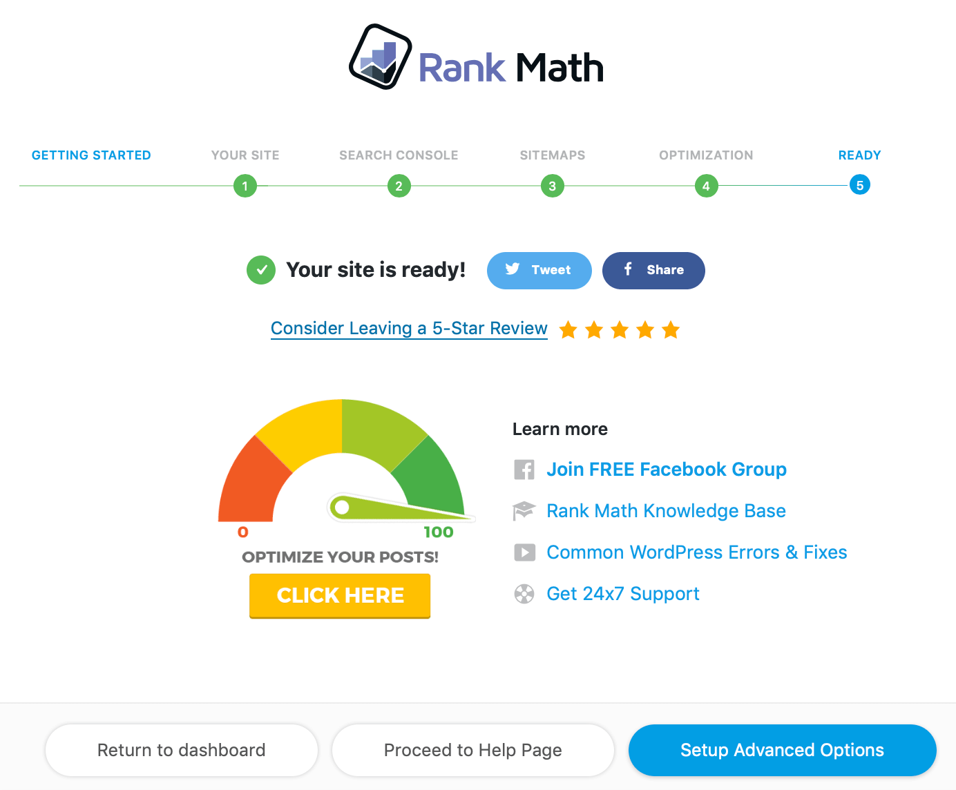rank math - your site is ready set up advanced options