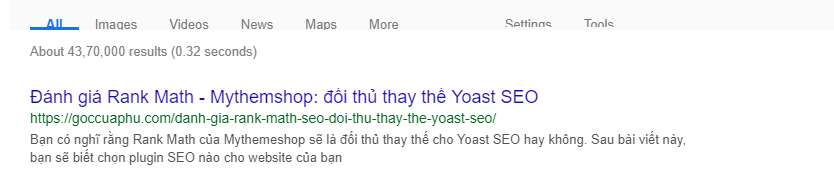 screenshot rank math seo display on google