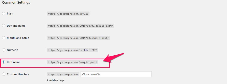 URL post name thân thiện