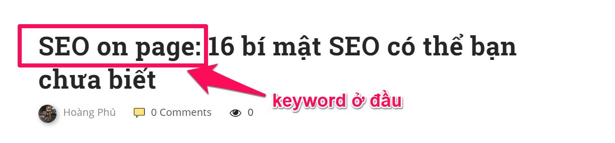 keyword seo onpage ở đầu câu