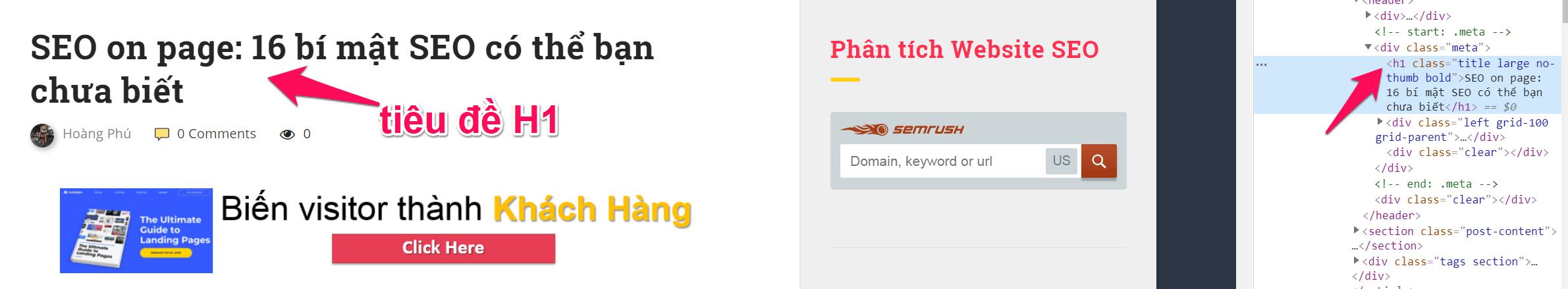 on page seo tiêu đề H1