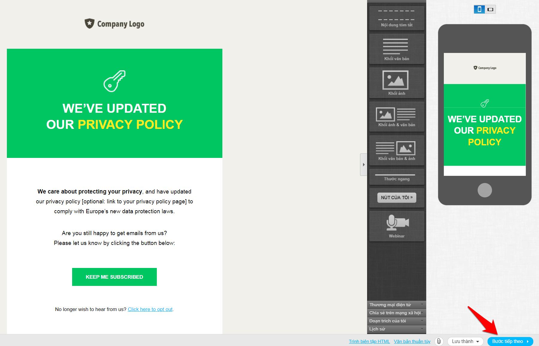 Bước lưu email mẫu của getresponse
