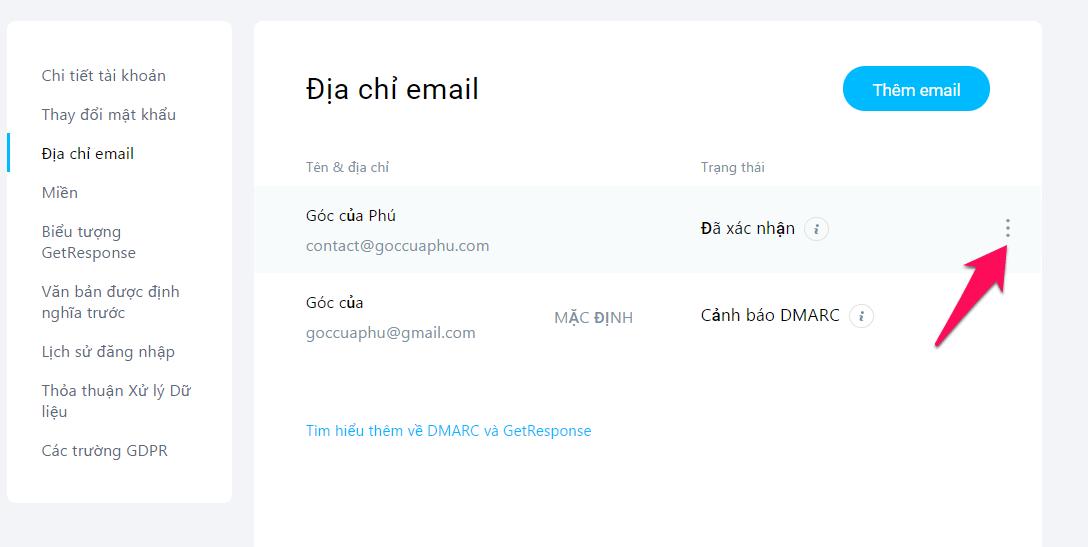 xác nhận tài khoản email mới với getrespone
