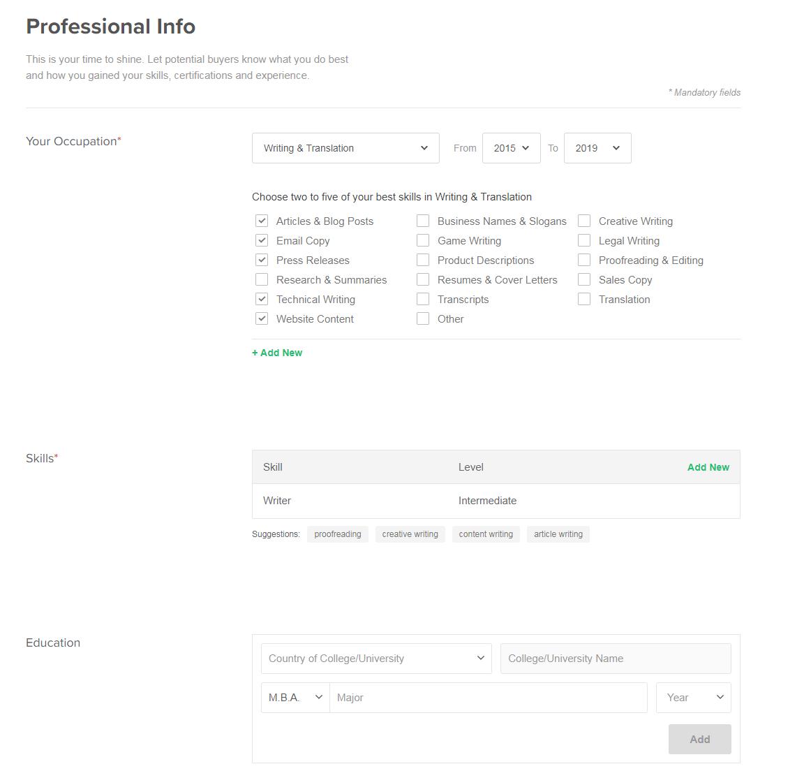 Thông tin nghề nghiệp trên fiverr