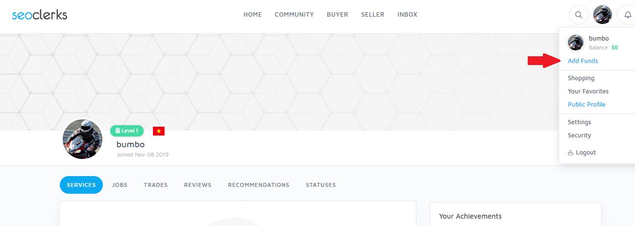 nạp tiền vào tài khoản seoclerk