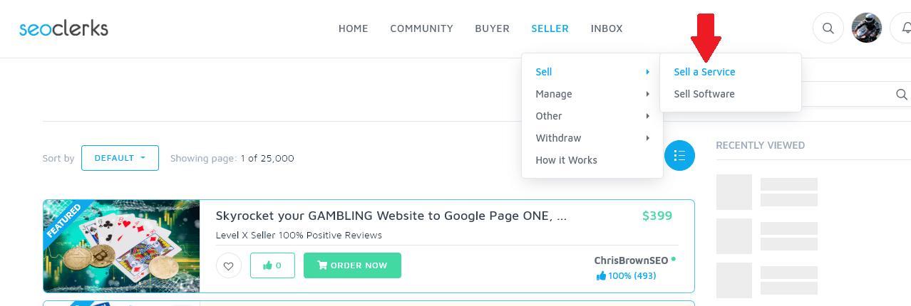 bán dịch vụ trên seoclerk