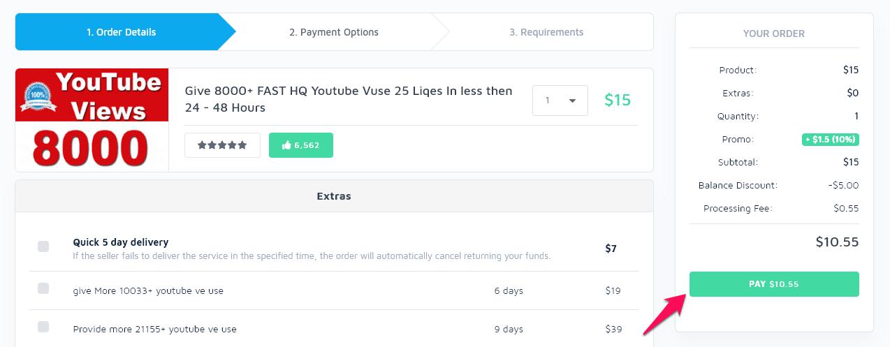 chọn pay để thanh toán dịch vụ trên seoclerk