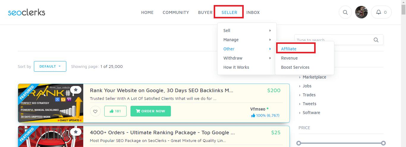 seller affiliate kiếm tiền với seoclerk