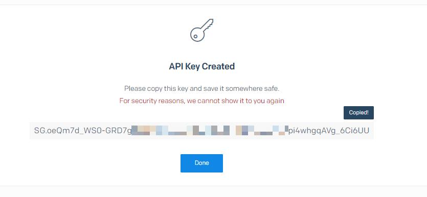 API key đã được tạo bởi sendgrid