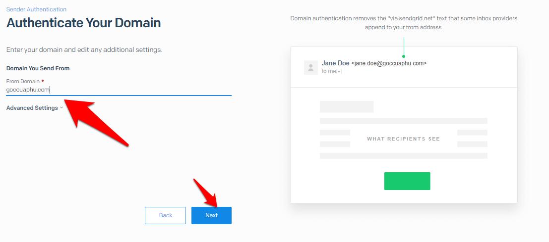 xác nhận domain blog của bạn với sendgrid