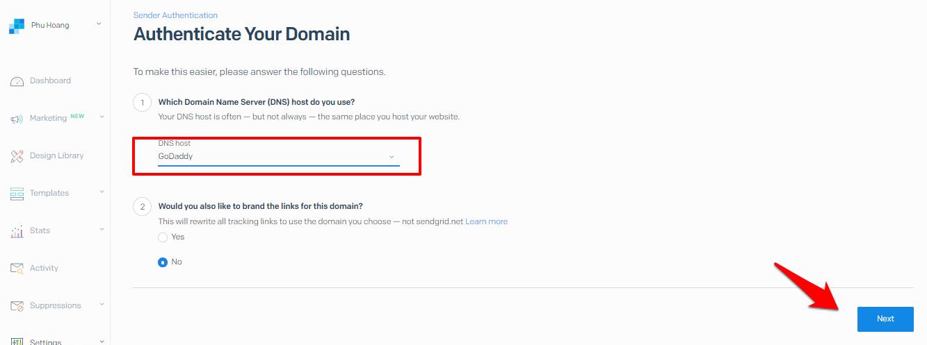 input domain name server