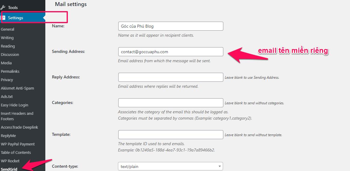 thiết ập email setting cho sendgrid