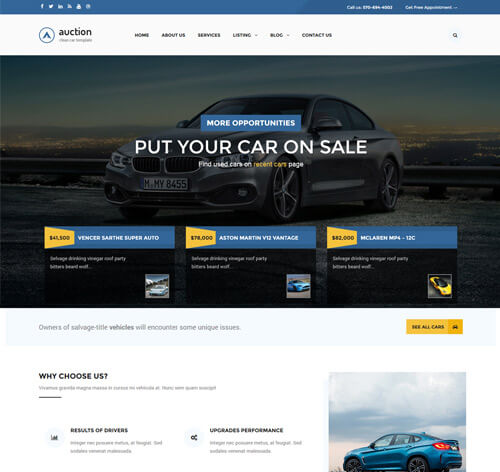 Auction - Car Dealer woocommerce theme cho xe hơi
