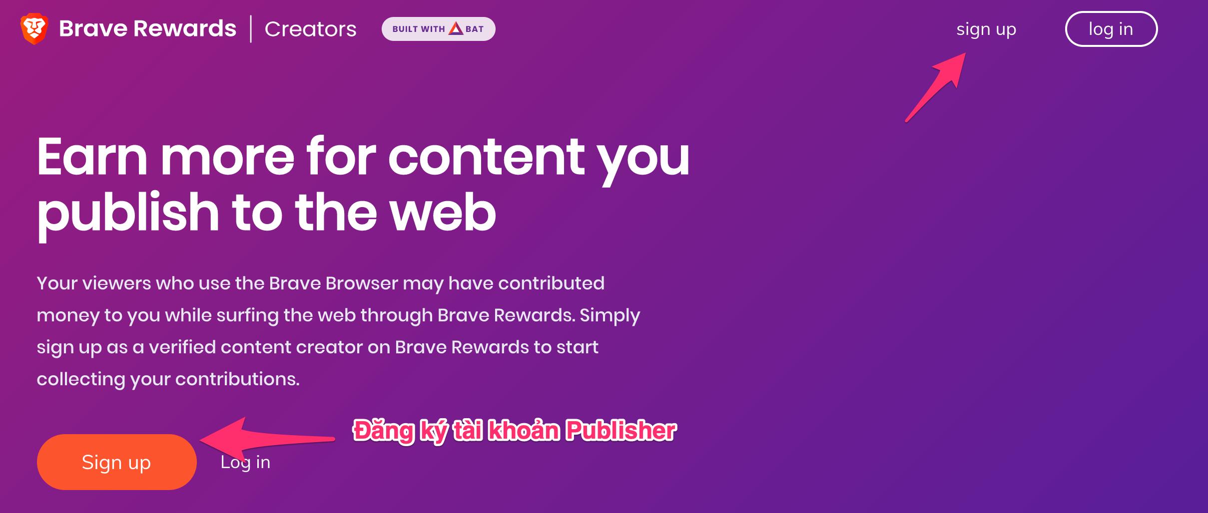 đăng ký tài khoản publisher của brave